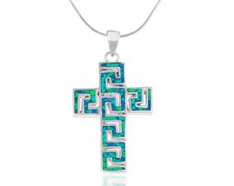 Blue Opal Cross Pendant in Fine Sterling Silver with Meander Motif