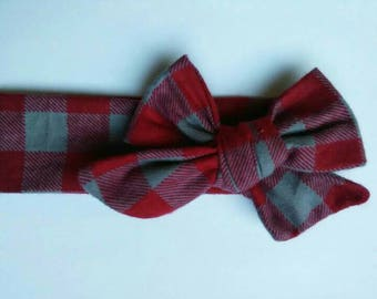 Red plaid head wrap