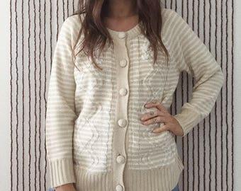 Beige Button Up Sweater