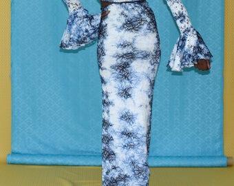 Marina lace long skirt. Indigo Tie-dye
