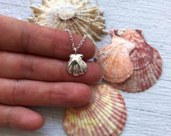 Silver shell necklace, silver seashell, shell pendant, silver shell, mermaid jewellery, shell jewellery, seashell jewellery.