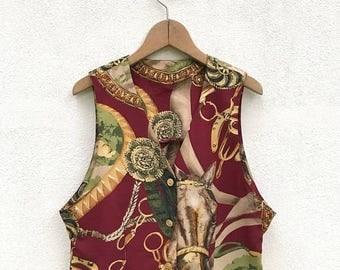 20% OFF Vintage Baroque Royalty Vests Horses Design / Vintage Vest  / Baroque Jacket / Baroque Vests