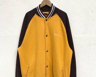"20% OFF Vintage Columbia Embroidery Logo Button Jacket / Colombia Jacket / Colombia Sweater / Yellow Jacket / Armpit 25"""