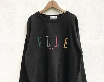 20% OFF Vintage Elle Paris Sweatshirt / Elle Sport Sweater / Elle Spell Out Shirt / Elle Big Logo / Elle Multicolour Logo
