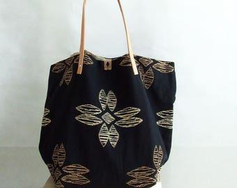 Large Tote Bag, Shopping Tote Bag, Weekender Bag, Market Bag, Black & Beige Bag, Tote Bag with Pockets, Everyday Bag, Handmade Bag