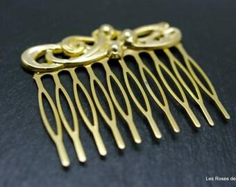 comb flower art deco gold comb