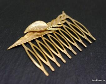 leaves hair comb gold art deco comb