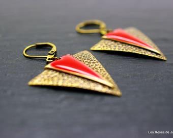 Earrings art deco triangle, earrings