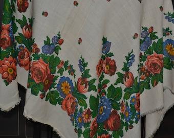 Russian vintage cotton shawl, cream cotton babushka shawl, cotton scarf,russian head scarf, floral cotton shawl, vintage floral cotton scarf