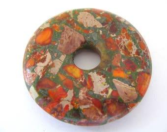 Pendant, Impression Jasper, donut, 50mm diameter, 8mm thick, 10mm hole, orange, green, Jewelry supply B-1857
