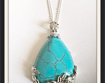 Turquoise Teardrop Two Sided Pendant Necklace