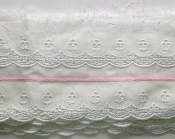 White with pink ribbon Cotton Broderie Anglaise  Trim  Vintage   80's