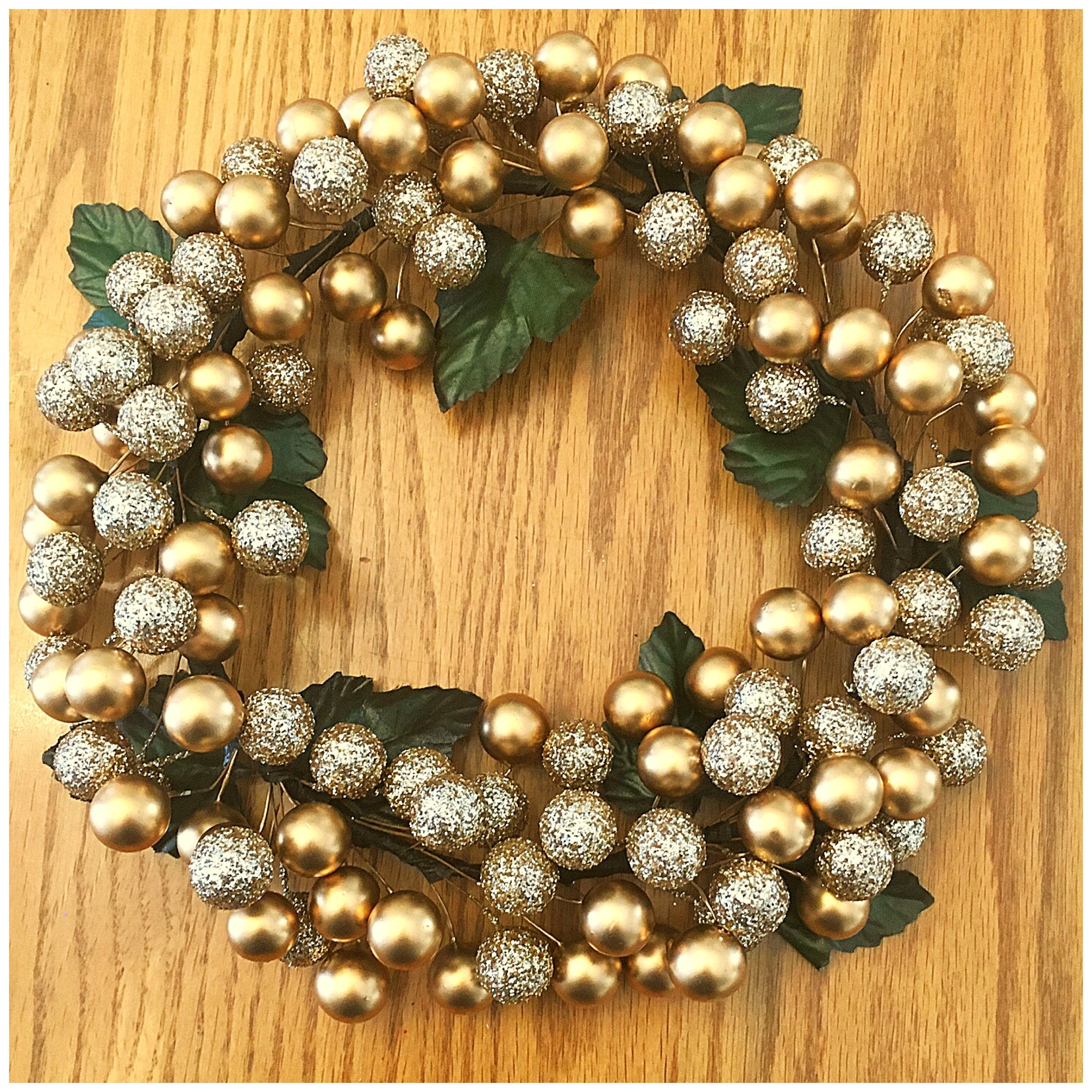 Gold Berry Wreath. Small Accent Wreath. Holiday Berry Hanging. Gold ...