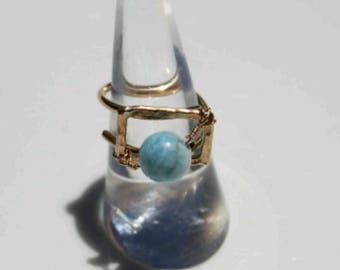 Gold filled adjustable ring with Larimar accent Dominican republic rare natural Stone
