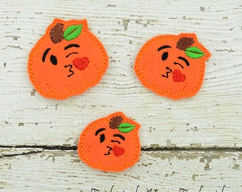 Kissy Pumpkin Feltie Set of 4 - Hair Bow Supplies - Clippie Cover - Badge Reel Cover - Craft Supply - Scrapbook - Card Making - Planner Clip