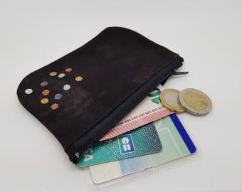Velvet leather,  handpaint , mini purse