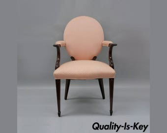 solid mahogany pencil inlaid sheraton style arm chair dining pink round back