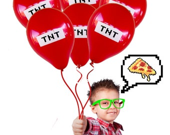 25 Count Red TNT Miner Video Game Truck Birthday Party Balloons - Supplies Favors Decorations Invitations Goodie Goody bags cake top