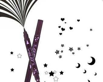 4 Designs Double Ends Heart Star Moon Flower Stamper Black Liquid Eyeliner Waterproof Eye Liner Pencil Pen eyeshadows