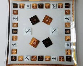 Vintage Inland Glass Atomic Snowflake Square Serving Tray