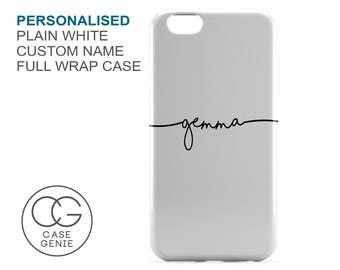 Personalised Handwritten Name Case in White for iPhone 7 Plus 6 6s 5 5s 5c SE 4 4s Samsung Galaxy S7 S6 Edge S5 S4 Mini Custom Cover