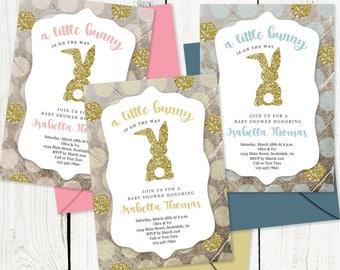 Easter Themed Baby Shower Invitation for Boy Girl Gender Neutral - Little Bunny Invite Printable Template, Instant Download Digital File PDF