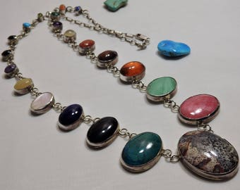 "Big 28"" Long 88Gram NAVAJO Harry Spencer PETRIFIED Wood Multi-Gemstone STERLING Silver Necklace 500 obo"
