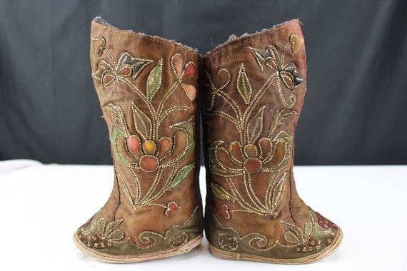 Vintage Asian Tibetan Child's Boots Handmade Embroider