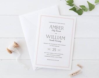 Printable Wedding Invitation Set, Simple Modern Wedding Invitation Set, Elegant Wedding Invitation Set