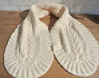 Ecru wool neck scarf