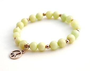 Stretch Beaded Bracelet, Gemstone Bracelet , Jade Stone Bracelet, Charm Drop Bracelet, Peace Sign Bracelet