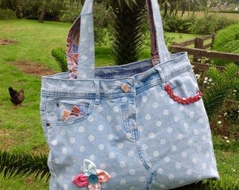 Denim shoulder bag, recycled jeans bag, upcycled hippy shoulder bag, jeans tote bag, one of a kind jeans bag