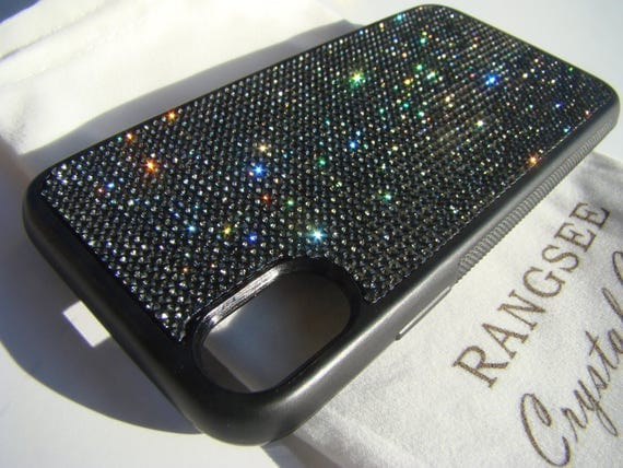 iPhone X Case , Black Diamond Rhinestone Crystals on Black Rubber Case. Velvet/Silk Pouch Bag Included, .