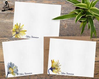 Personalized Note Cards, Personalized Stationery, Floral Custom Note Cards, Watercolor Daisies Flat Note Card Set, Boxed Stationery NC002