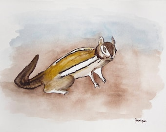 watercolor striped chipmunk painting animal original 11x15 illustration home decor wall art decoration