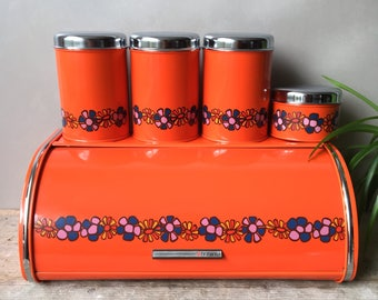 Vintage Brabantia Diane Bread Box/ Bin + Canisters Set Retro Orange Flowers. 70's Dutch Kitchenware