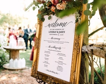Wedding program Sign, Welcome Wedding Sign, Program Sign, Wedding Sign, Wedding Poster, Template, DIY, PDF Instant Download #BPB310_60
