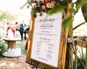 Wedding program Sign, Welcome Wedding Sign, Program Sign, Wedding Sign, Wedding Poster, Template, DIY, PDF Instant Download #BPB310_60