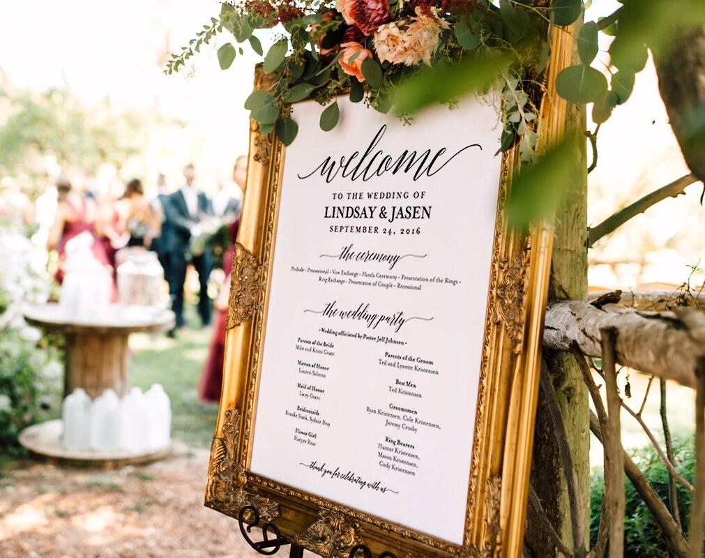 Wedding Photography Programs: Wedding Program Sign Welcome Wedding Sign Program Sign