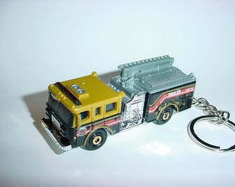 3D Pierce Dash fire engine custom keychain by Brian Thornton keyring key chain finished in black/gold color truck trim rescue 911