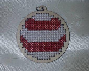 Wooden Cross Stitch Ornament Charm