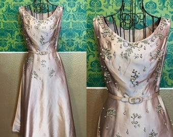 Vintage 1950s Dress - Beaded Silk Party Dress - XS