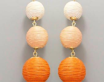Orange Ombre Cord BonBon Drop Earrings