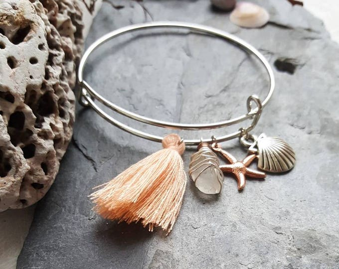 Featured listing image: Boho Seaglass Charm Bangle