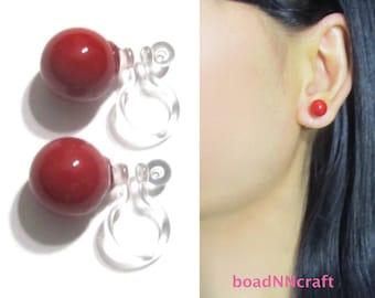 8mm Apple Red MOP Shell Pearl Invisible Clip on earrings,Stud Clip On Earrings,Wedding Bridal Clip Earrings, Magnetic Earrings Alternative,