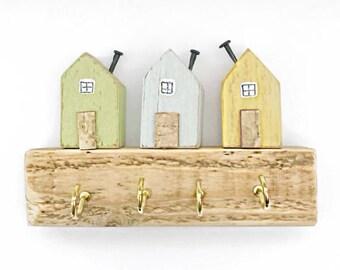 Little House Key Hooks, Miniature Houses, Wood Key Rack, Wooden Key Holder, Kitchen Decor, Key Tidy, Wall Hooks, Key Hanger, New Home Gift