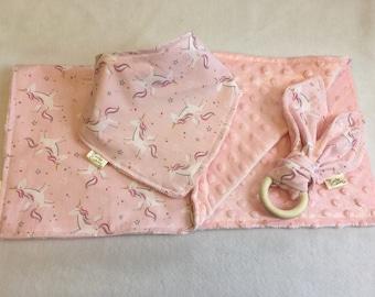 Bib Set pink unicorn Fabric