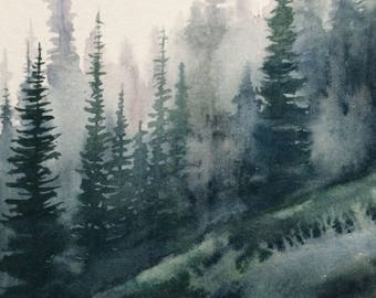 Pine forest, Misty pines, pine tree painting, forest painting, Misty pines, Pacific Northwest, Misty mountains, watercolor trees, forest