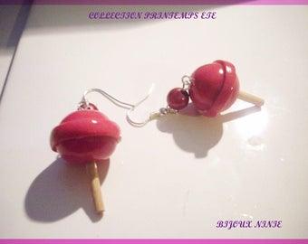 Earrings gourmet pink lollipop polymer clay