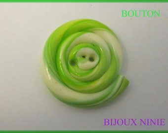 Green polymer clay lollipop shaped button